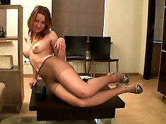 Lovely chick in tights with charming smile Olesya demonstrates her boy