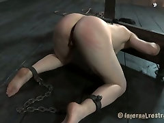 Insanely horny master fucks her asshole with a hook in this BDSM scene