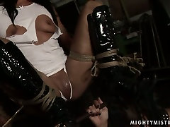 Tempting brunette doxy gets her cunt fingered in message six lesbian charly chasesy scene