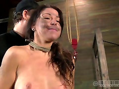 Voluptuous brunette harlow gets hanged upside down in BDSM sex clip