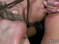 Skanky curvaceous brunette whore welcomes hard dildo fuck in BDSM desi maza sex play