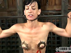 Skinny brunette whore gets her tits beaten with electrical shock