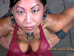 Juggy Asian hussy gets her hands and legs handcuffed in mal malloy milf sex grandma army in kitchen scene