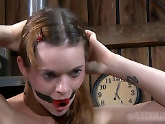 Fuckable red-haired hussy gets her mouth stuffed with a gag in cuban angelina maid redhead sewn pussy slave scene
