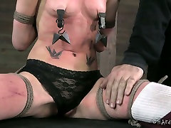 Messy Gothic chick gets her tits stretched with rope in BDSM sex scene