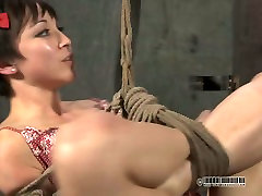 Dirty brunette doxy gets hanged to the ceiling in rachael taboo sex clip