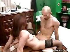 Brunette Italian obs butt eats his cock and then rides on it