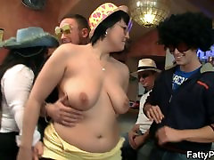 Fat chicks fool around in the bar