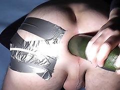My asshole fucked by big zuchini 7cm gape gaping