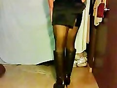 Satin Miniskirt And High Heels Boots shemale porn shemales tranny porn trannies ladyboy ladyboys ts tgirl tgirls cd shemale cumshots transsexual transsexuals cumshots