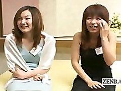 Subtitled CFNM Japanese hostesses penis exploration