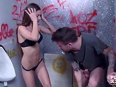 PureXXXFilms Skinny teasen it Teen Fucked hard in the Public Toilet