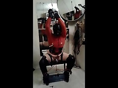 Bound to bench in ballet boots and pierced on chastity
