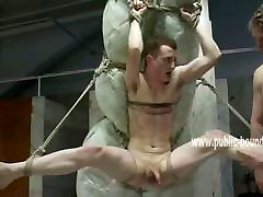 Cute gay twink immobilized with ropes