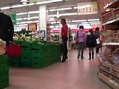 shemale latex leggin with zip back in supermarket