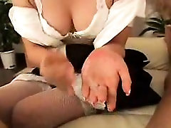 Enticing Japanese maid in hot lingerie reveals her cocksuck