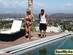 Naked blonde milf exposed big saggy tits jerking big dick