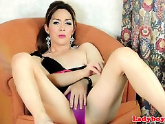 Asian amateur milf rogh anal toying her ass with dildo