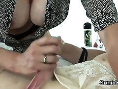 Unfaithful british mature lady sonia flashes her big knocker