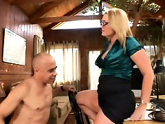 Hot blond in glasses gives sexy foot job and gets pussy eaten in return