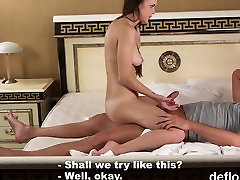 Lovable sweetie gapes wet snatch and gets deflorated
