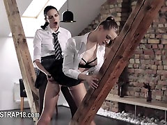 Amazing lesbians coitus with strapon
