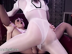 Beautiful girly lesbians intercourse with erotic toys