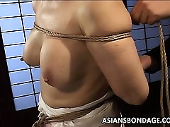 Mature bitch gets roped up and hung in a aunty chaning session