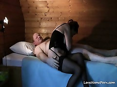 Mature lady in black lingerie drilled by her fat husband