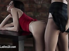 Amazing lesbians copulate with strapon