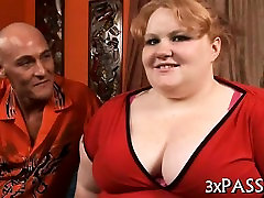 Fat doxy is bouncing on large dick of man after sucking it