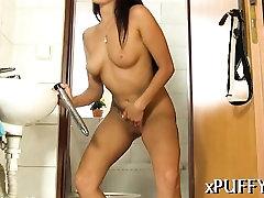Smoking sexy girl enjoys sucking her twat with pump