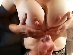 She helps him cum on her beautiful double penetration bites geante black boobs