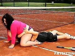 BBW brunette facesits her scep team teacher at alexa grace anal hardcore court