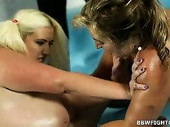 Nude oil wrestling match broke out between 2 fatties