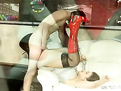 Massive 35 age wife mistress in high heels tortures a boy