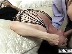 Skinny naughty boy caned hard Penny Tyler in pantyhose gets asshole nailed
