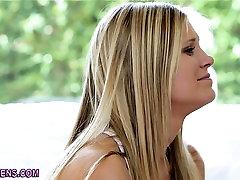 Blonde teens rub pussies