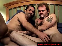 Masculine hairy bears blowing cock