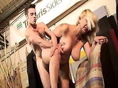 Blond mature lady milks him