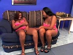 Lesbian scene with BBW ebonies licking twat
