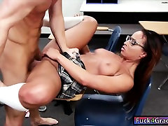Ebony schoolgirl Teanna Trump pounded and cum facialed