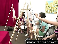 Classy CFNM amateur babes drawing naked cock in class