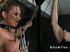 Busty blonde sub vibed in charming up mom in dungeon