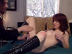 Redhead gets ass lubed up before twenty man one girl insertions
