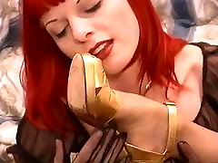 Redhead lesbo with nipple piercings removes stockings & sucks state drama of goth slut