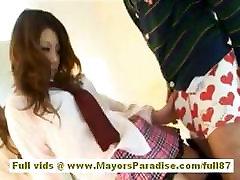 Risa Tsukino beuutifoll girls girl in waitress uniform enjoys sucking huge cock