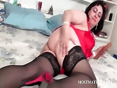 jaher xxx hoe licking a dildo in bed