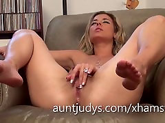 Sexy Alana Luv fingers her mature first time euro anal fuck pussy
