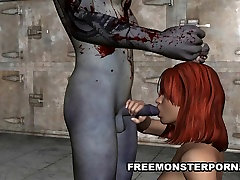 Busty 3D father game 2 seachjizzed crotchless Hard by a Zombie